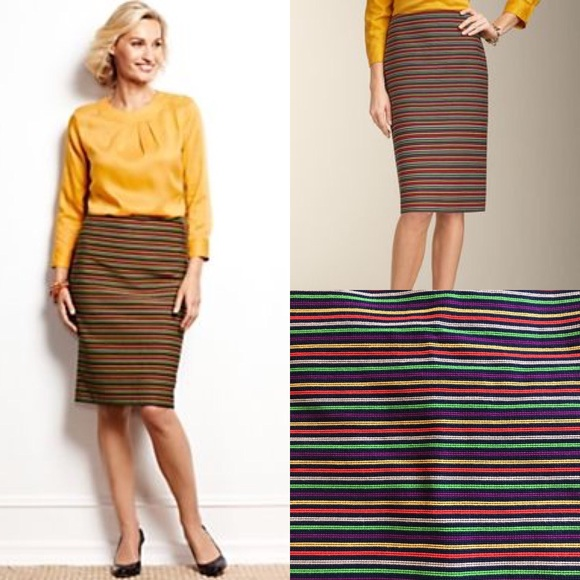 d0583d6303 Talbots Rainbow Stripe Corded Pencil Skirt 12. M_5b4d54f4d6dc52a604328134